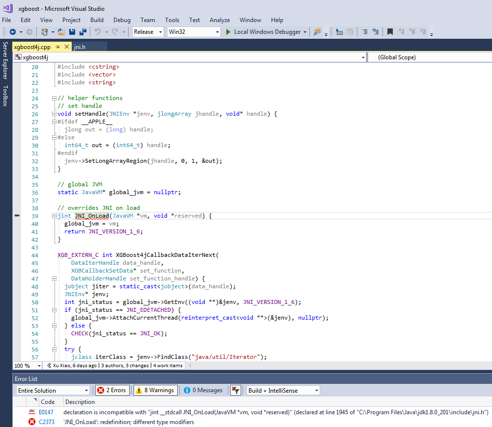 jvm-packages] xgboost4j cpp 'JNI_OnLoad' redefinition error