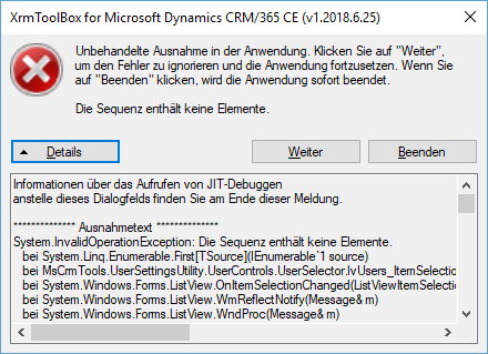 Error while selecting an user · Issue #30 · MscrmTools