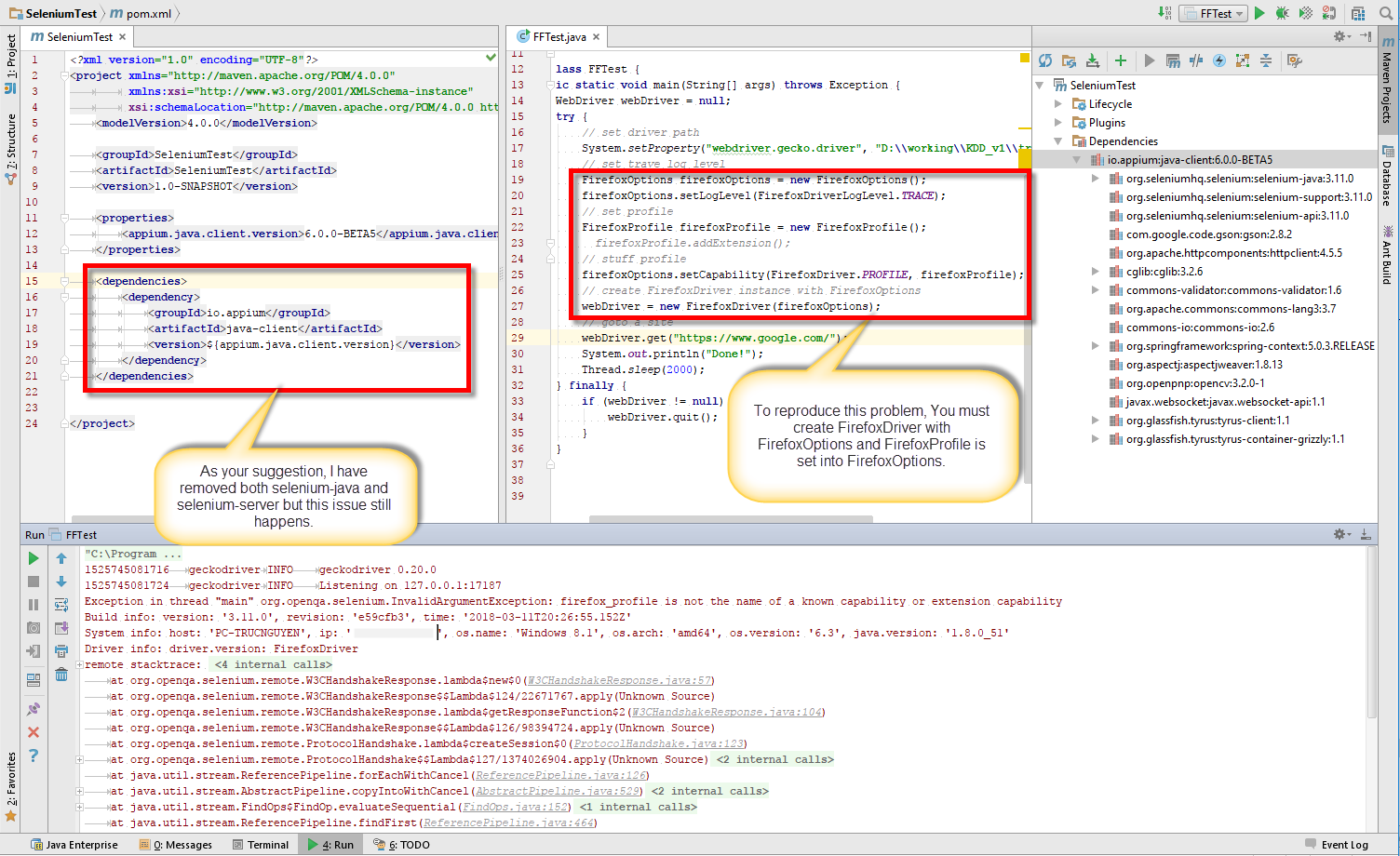 java-client's NewSessionPayload class conflict with