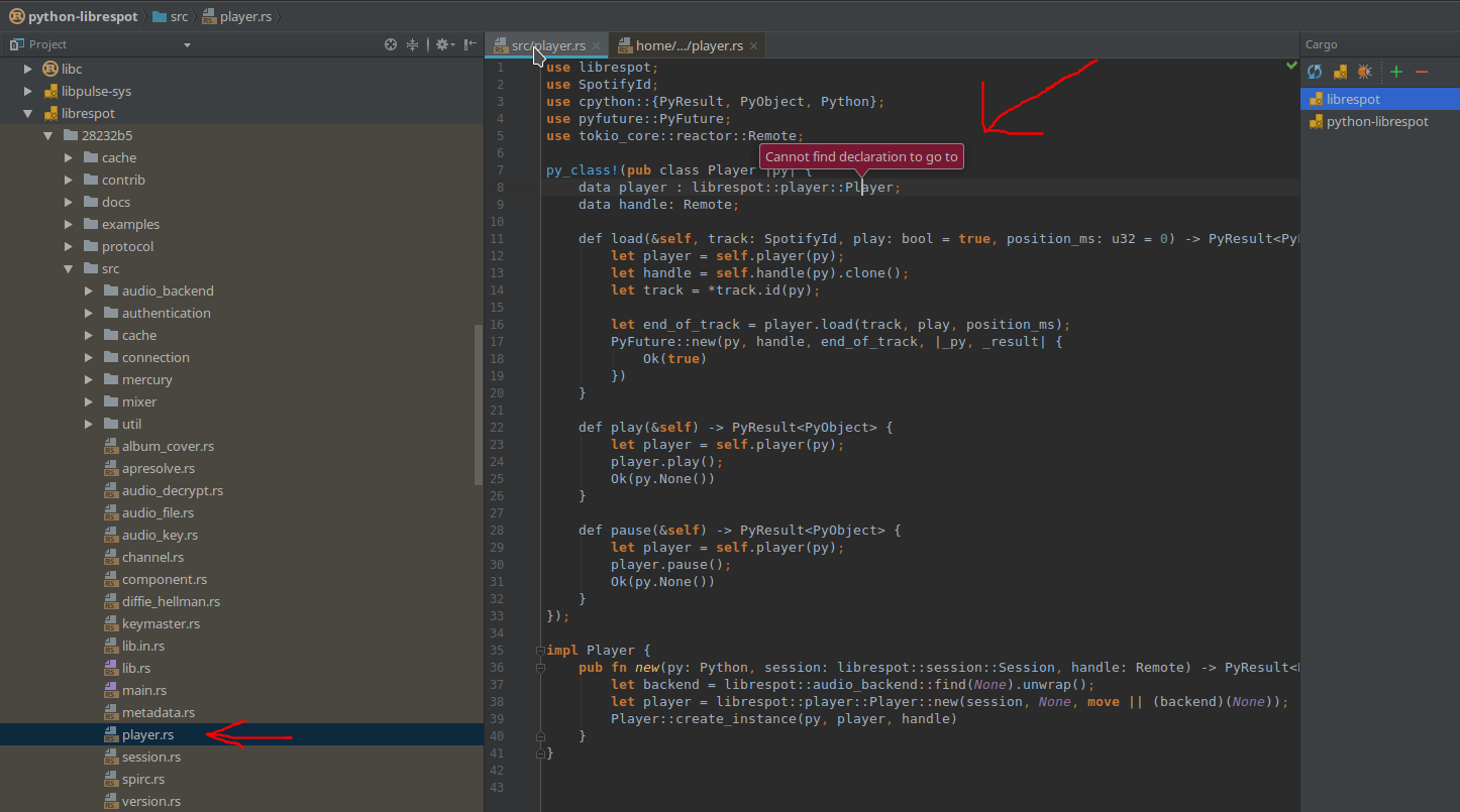 Go to definition / autocompletion fails, although IntelliJ