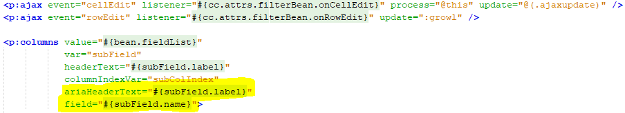 Datatable: SortField and Filter params not passed to