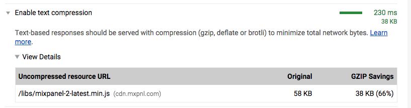 Enable compression for mixpanel js script · Issue #168 · mixpanel