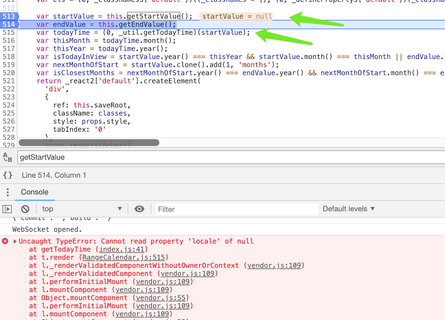 crashed when start date value is empty in RangeCalendar widget