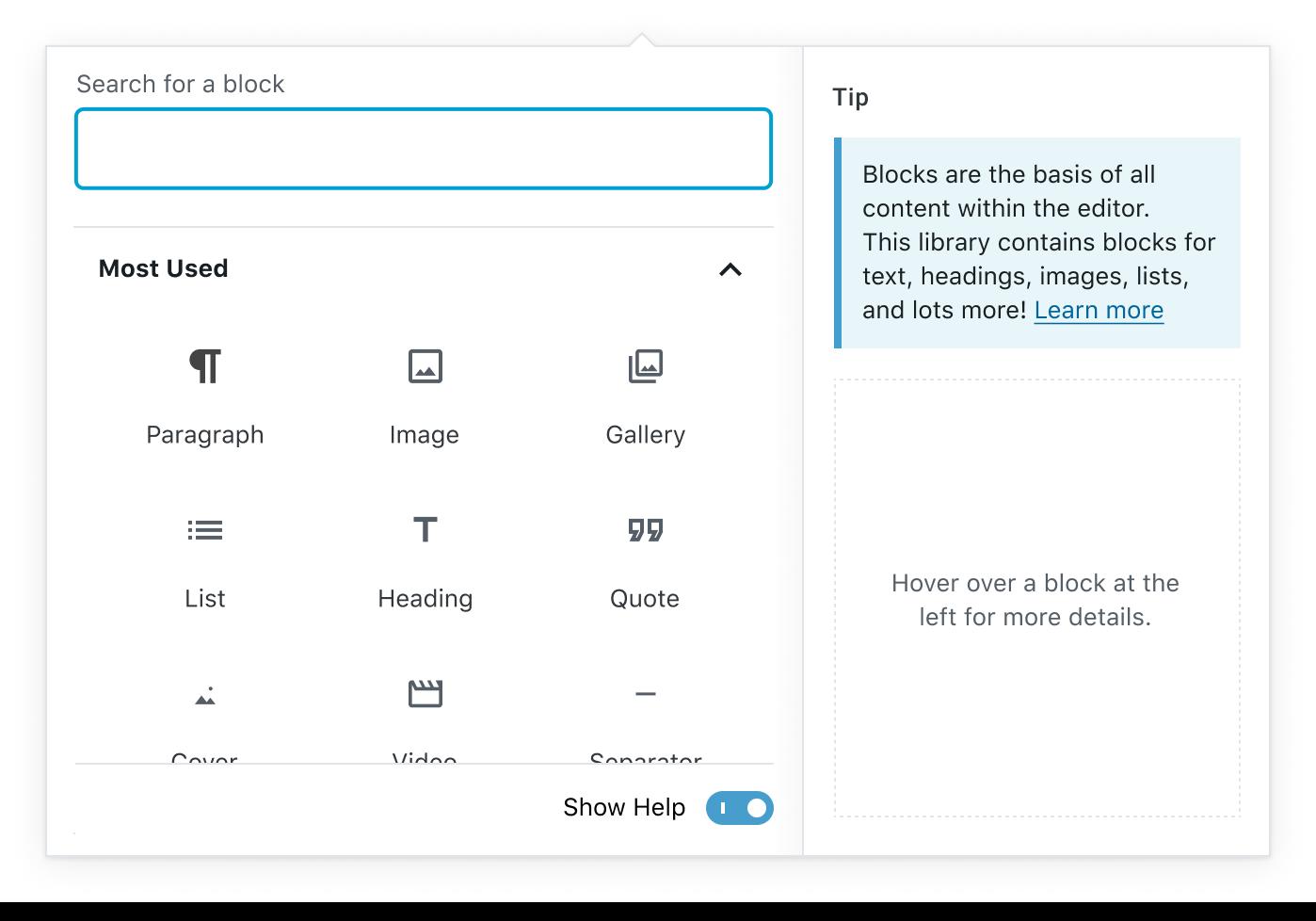 Block Library Help Panel - Default
