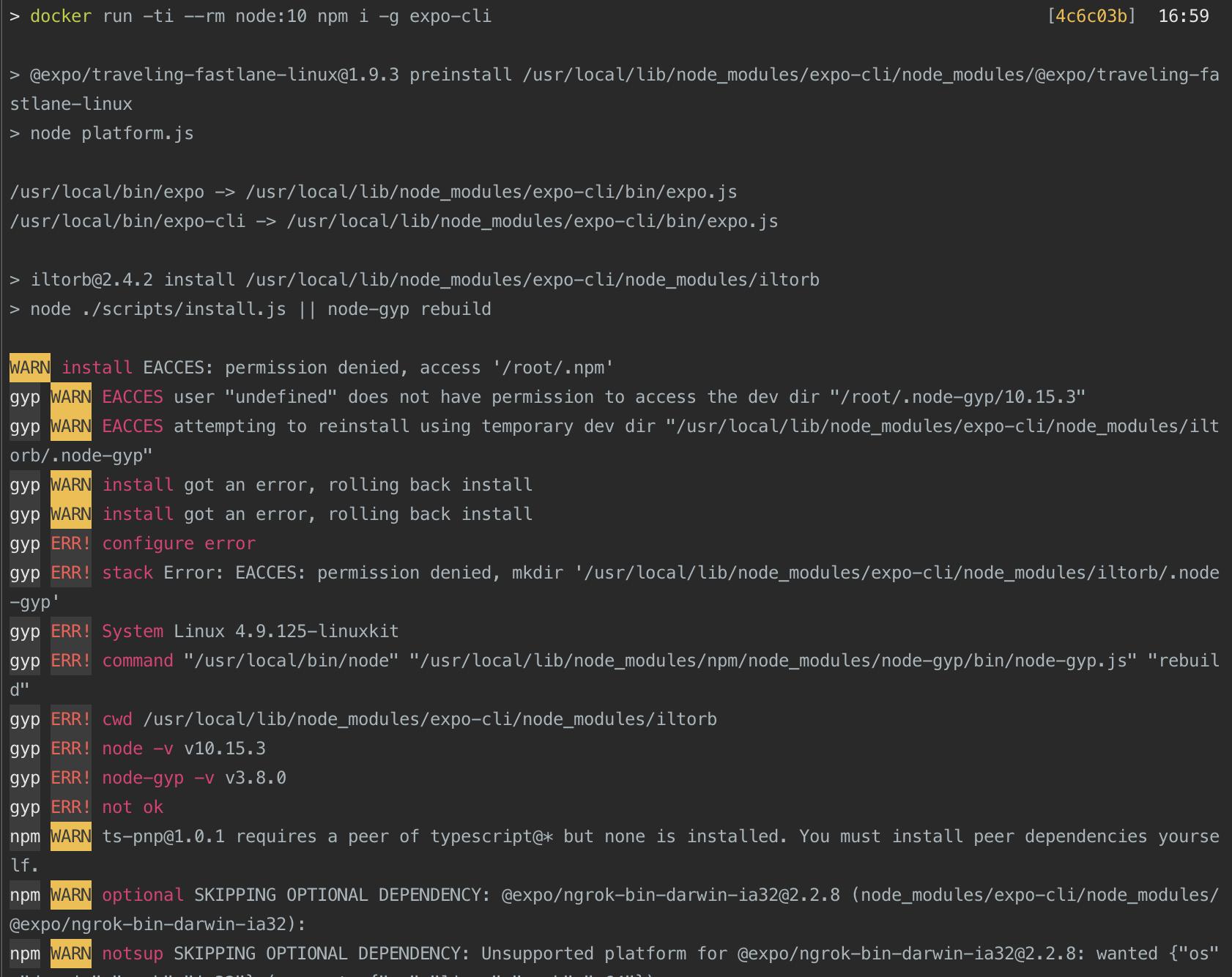 npm install node modules nested