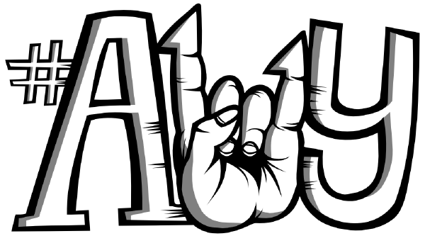 The #a11y hashtag with the ones replaced by a fist giving the rock and roll sign.