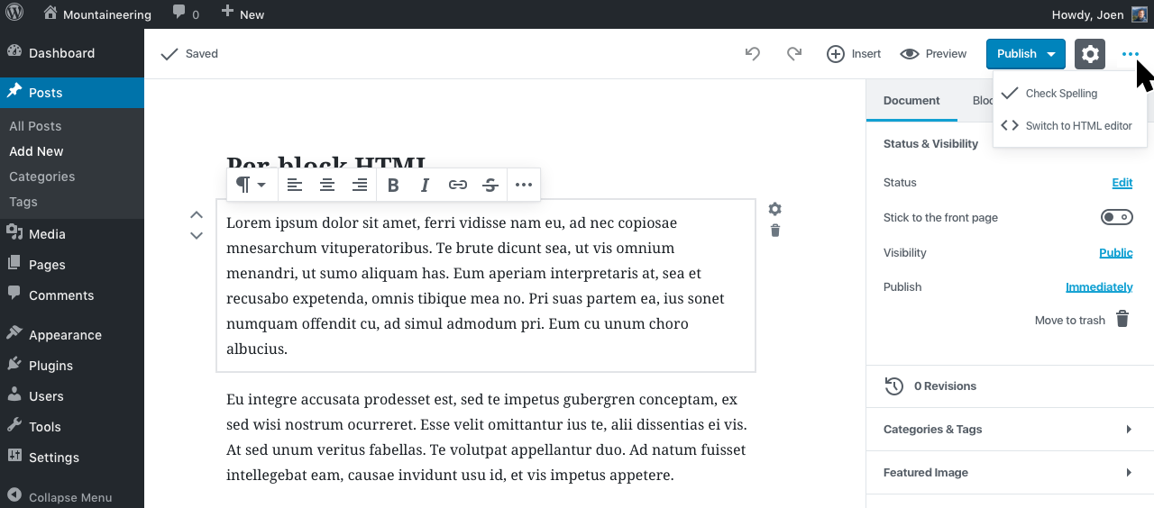 edit html global switch