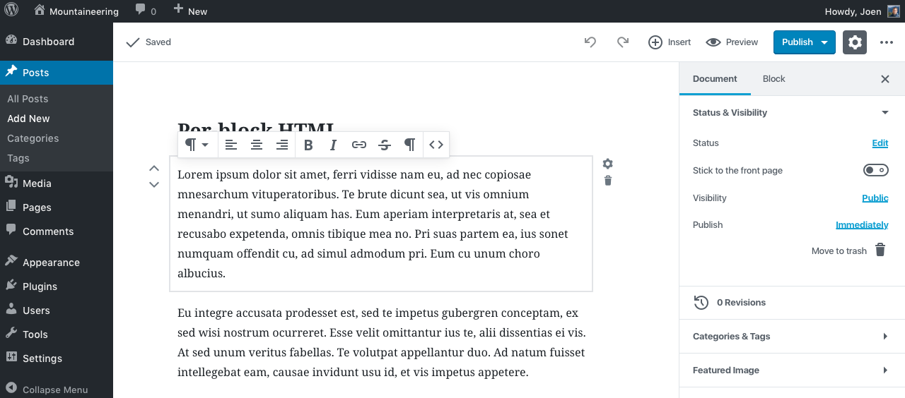 edit html wide quick toolbar
