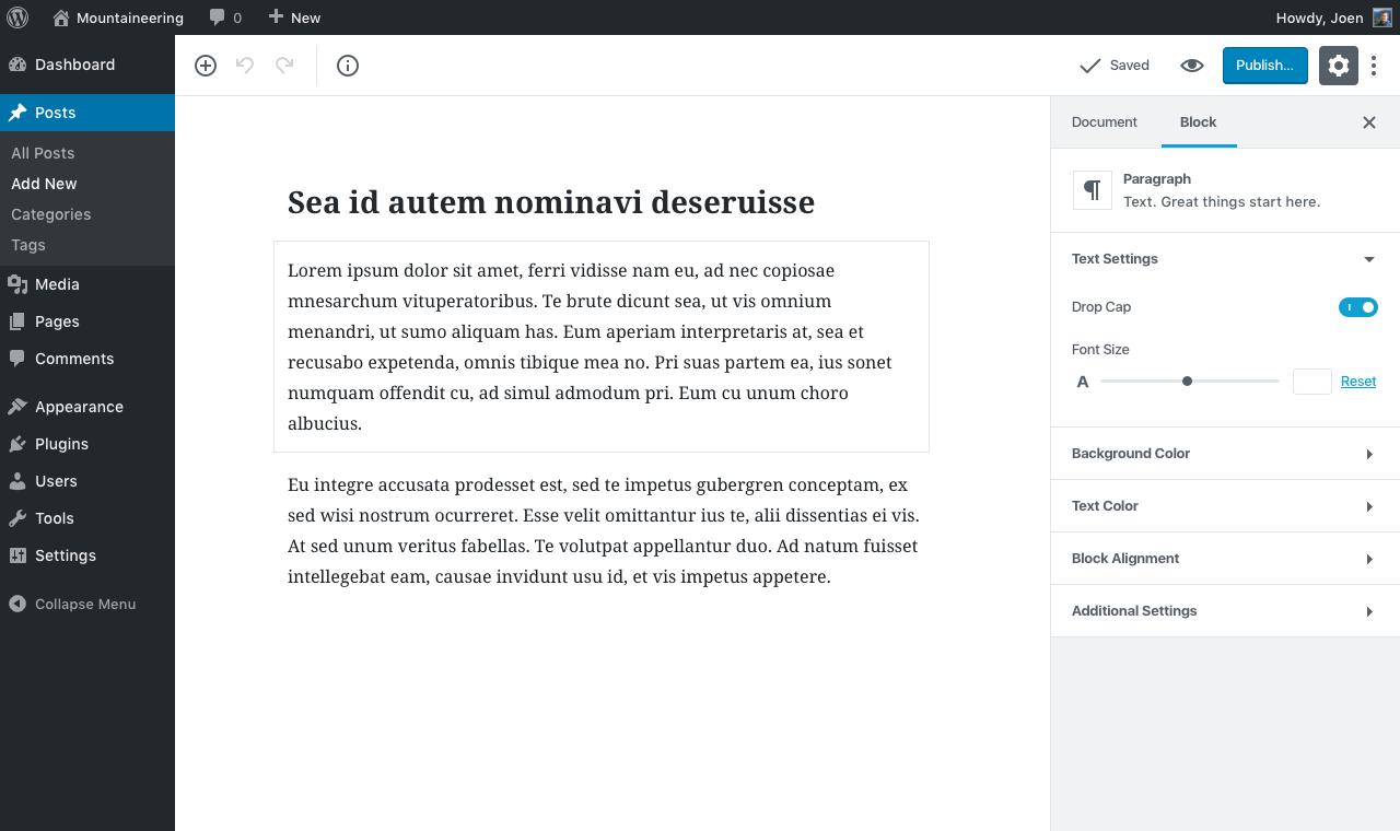 editor w sidebar block selected