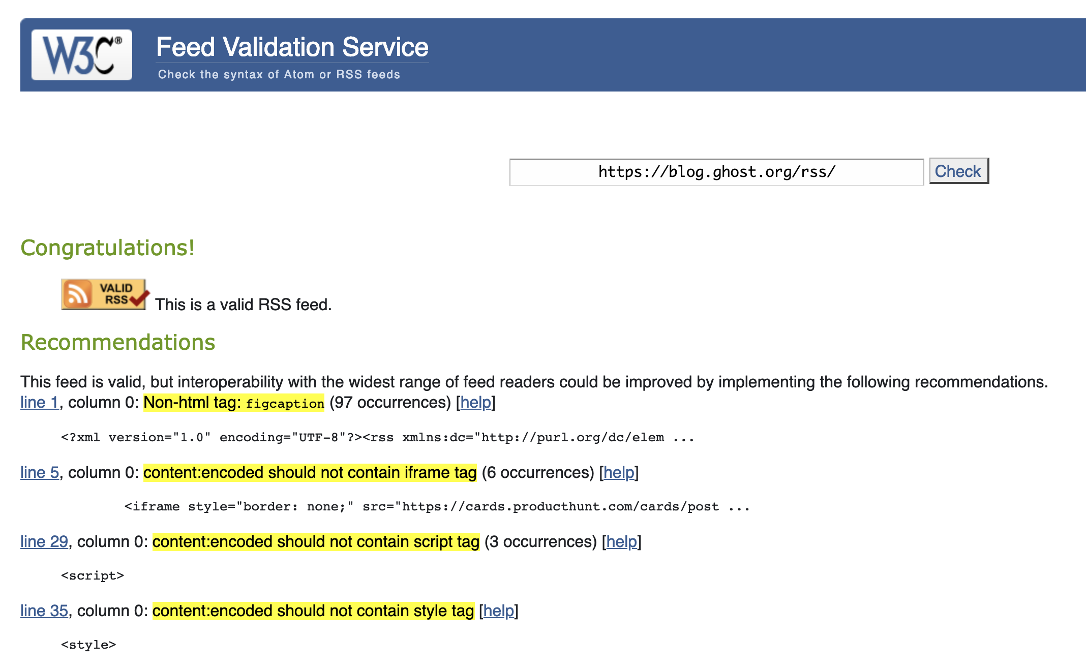 Ghost Blog fails RSS validation · Issue #8442 · TryGhost/Ghost · GitHub