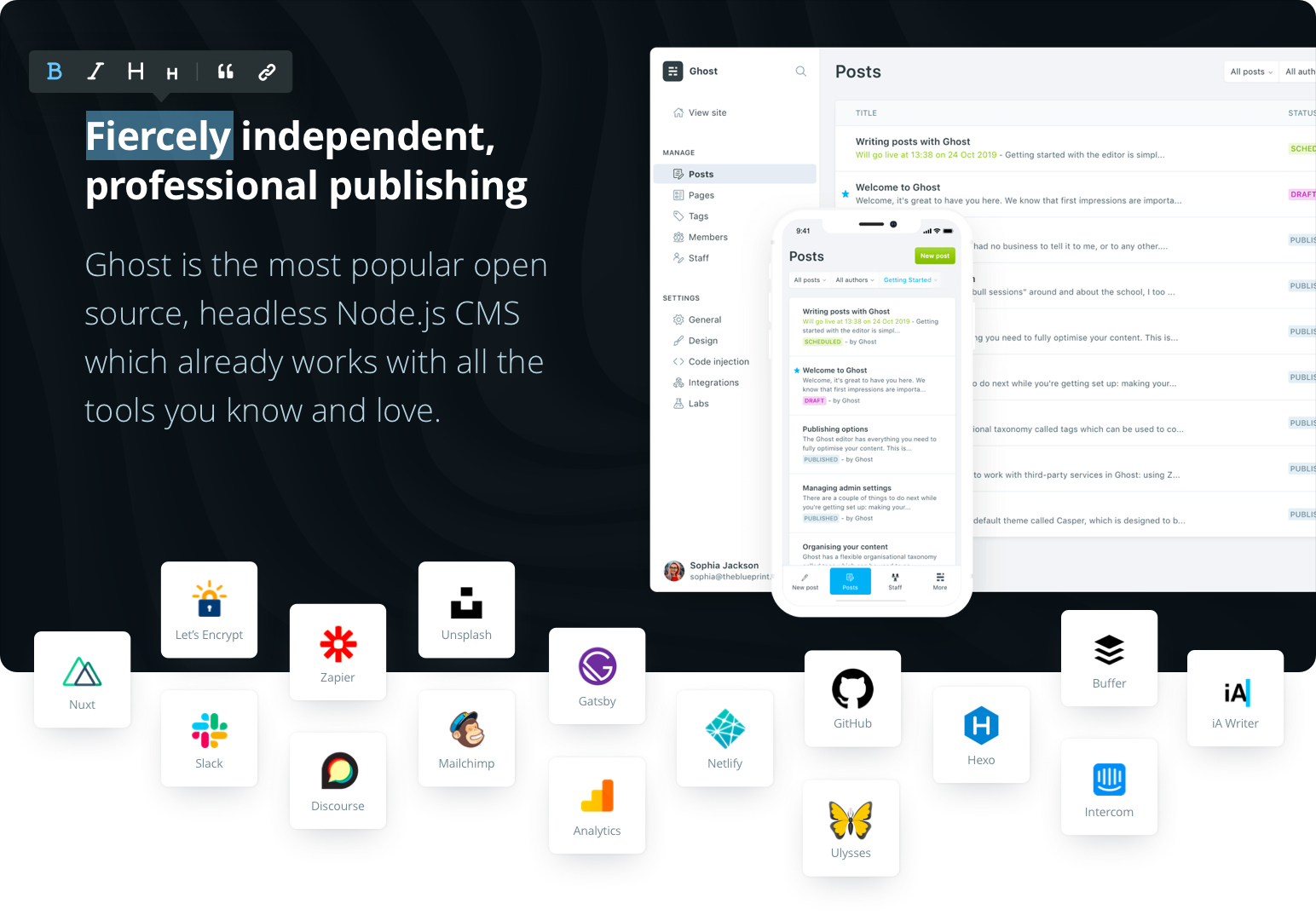 Fiercely independent, professional publishing. Ghost is the most popular open source, headless Node.js CMS which already works with all the tools you know and love.