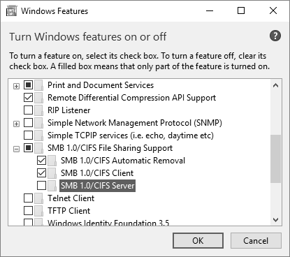 SMBv1 is disabled in Windows 10 Fall Creators Update · Issue