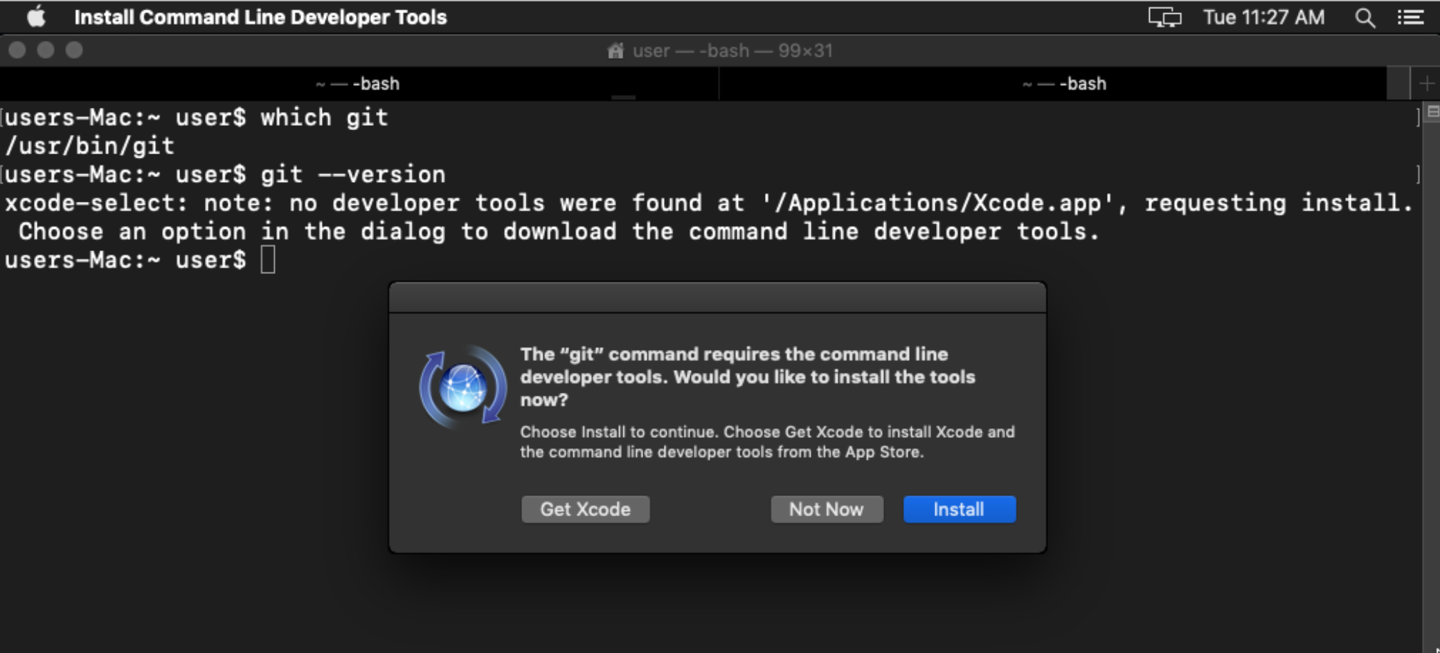 Properly detect whether git is installed on macOS · Issue