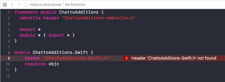 Compile error: Header 'ChattoAdditions-Swift h' not found