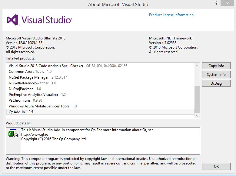 Visual Studio 2013 error Qt Visual Studio Add-in The following error