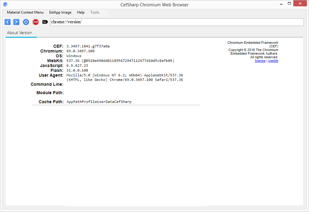 Get CefSharp Version: 69.0.0-pre01 (64-bit X 32-bit) Chromium Browser Desktop PC
