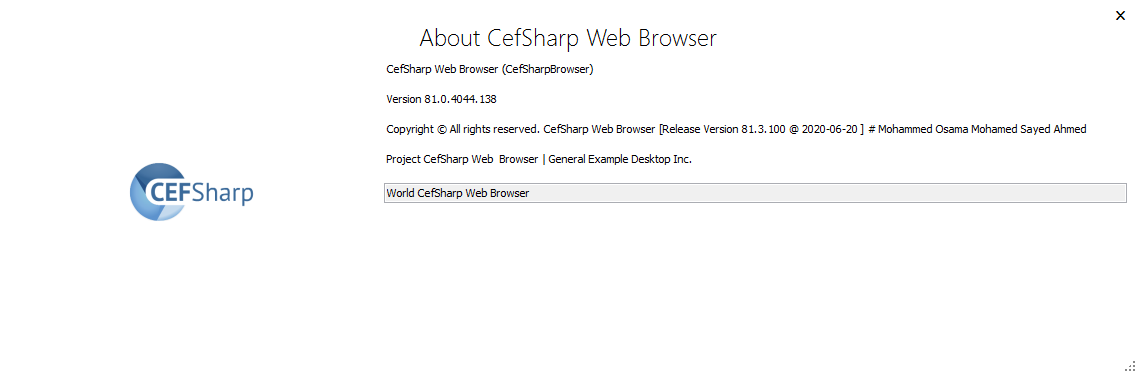 About Available CefSharp Version: 81.3.100