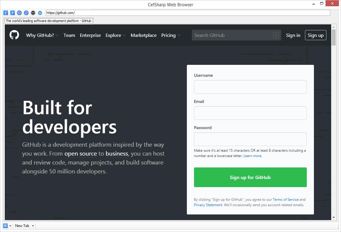 CefSharp Web Browser Samples Mini Example Windows Forms Desktop PC Project GitHub Developer