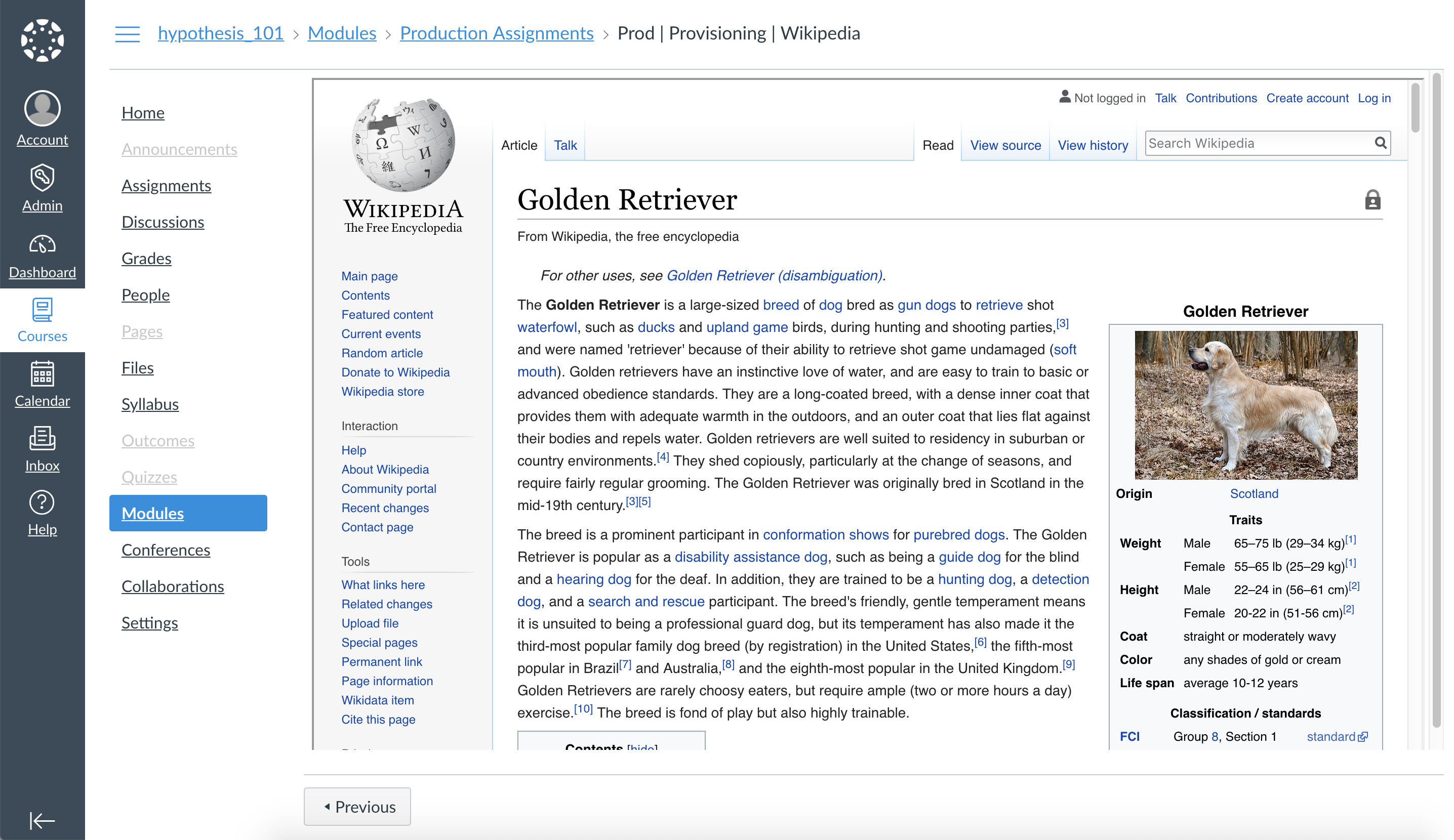 App with provisioning not working with Wikipedia links