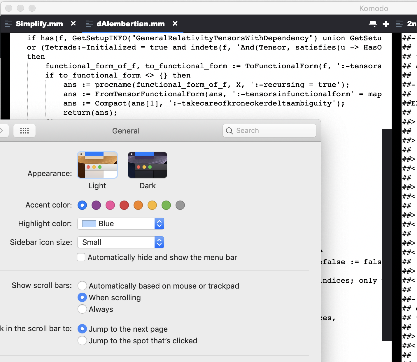 Mac OS Mojave: Scroolbars show all the time instead of