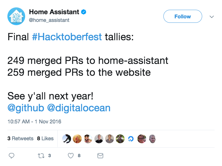 Home Assistant Hacktoberfest Tweet