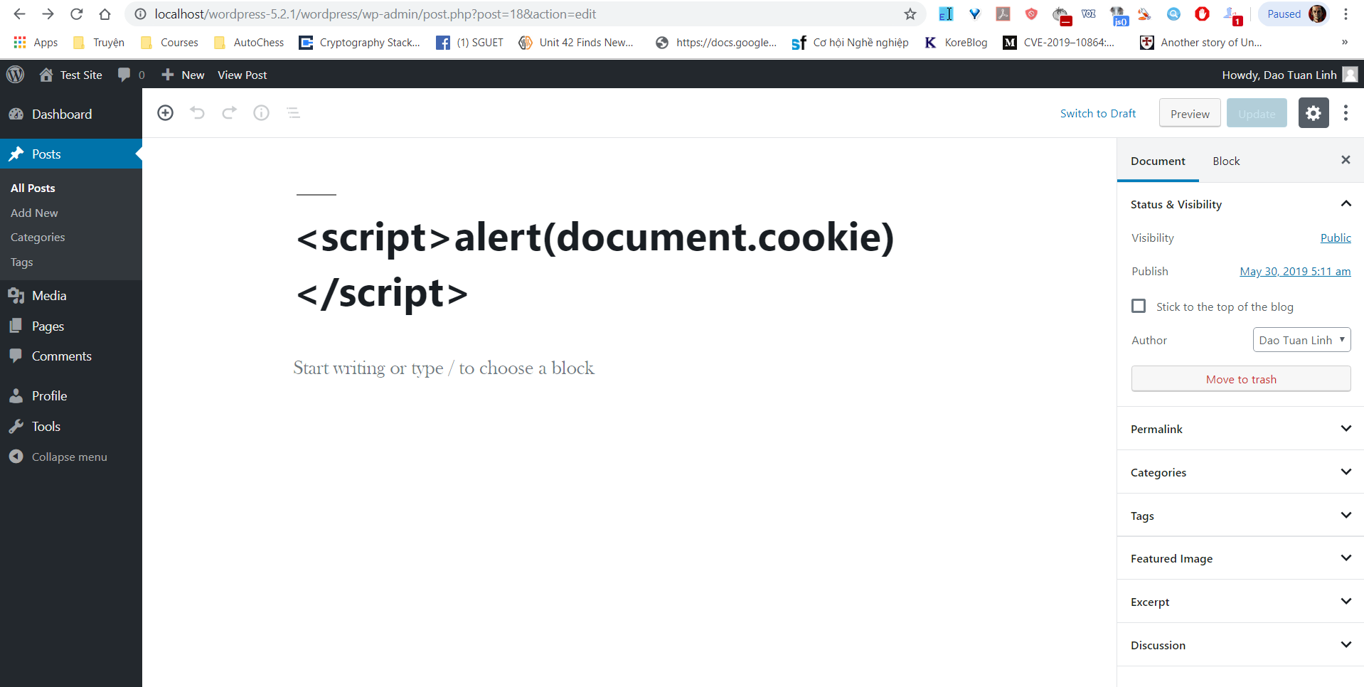 Page's title should be encoded or filtering html entities/javascript