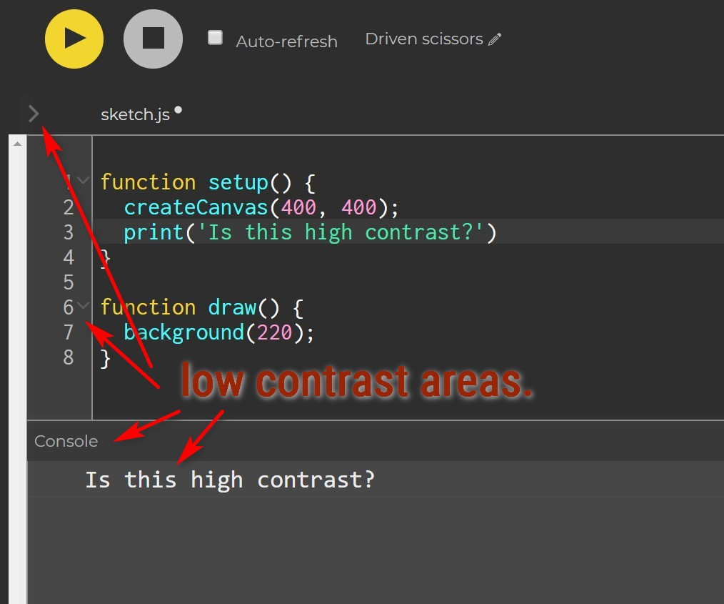 Accessibility - contrast · Issue #807 · processing/p5 js-web-editor