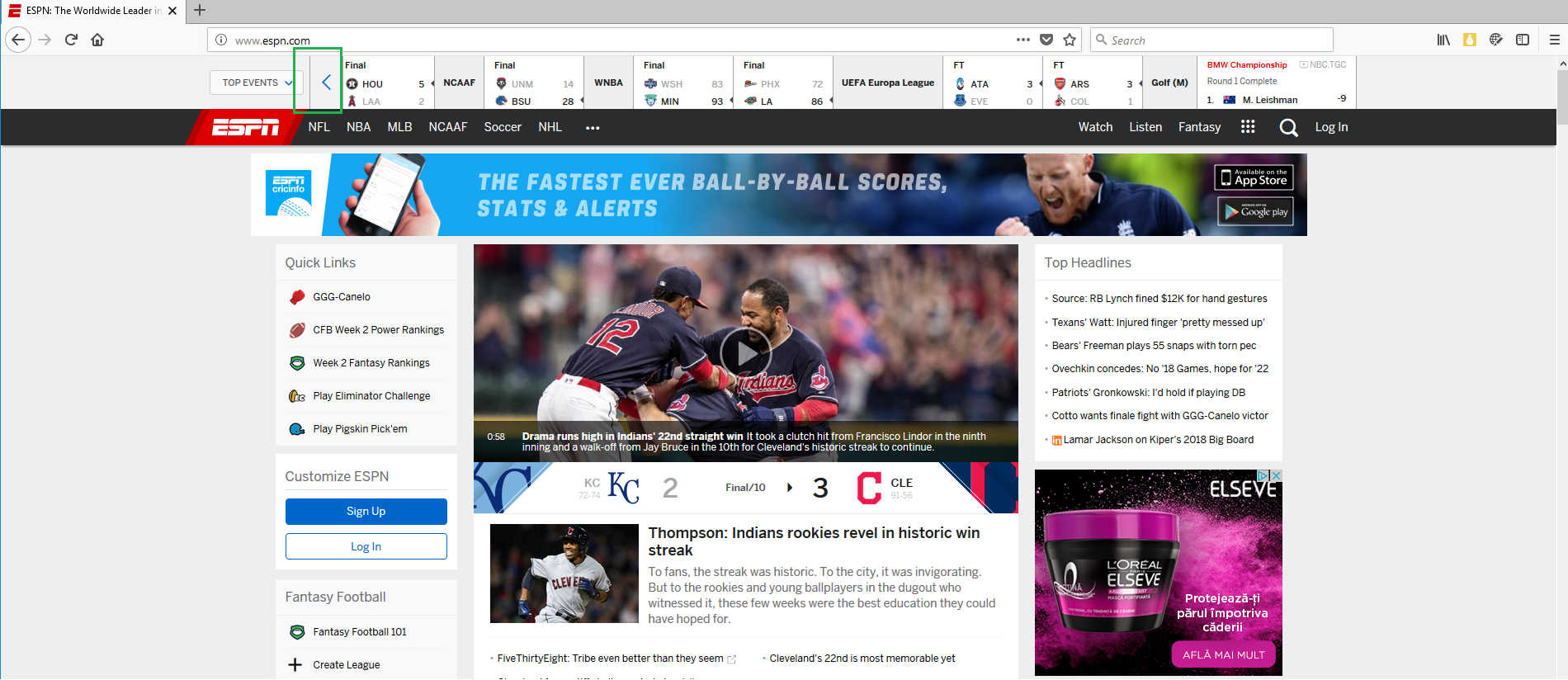 www espn com - layout is messed up · Issue #3874 · webcompat