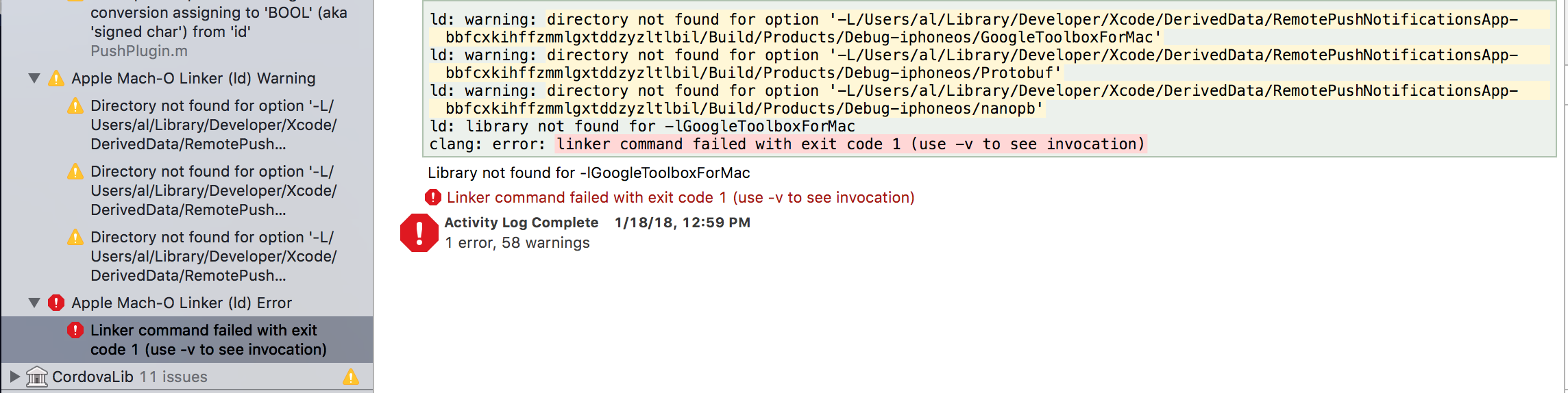 iOS FCM] Library -lGoogleToolboxForMac not found on Xcode