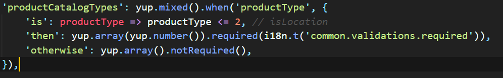 Conditionally require an array  · Issue #432 · jquense/yup