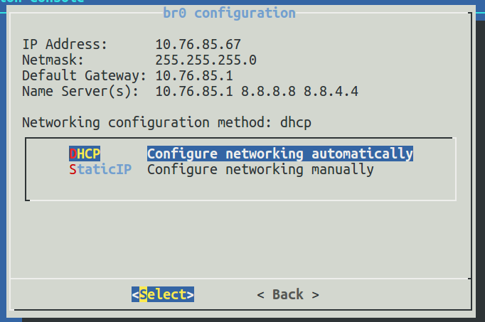 LXC appliance: Can't change network address using