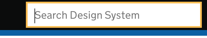 Example of a focussed input against black in the header of the Design System