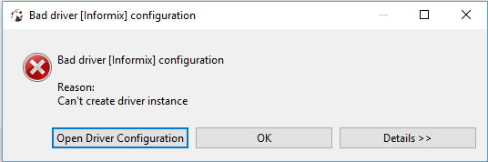 Bad driver [Informix] configuration · Issue #2621 · dbeaver/dbeaver