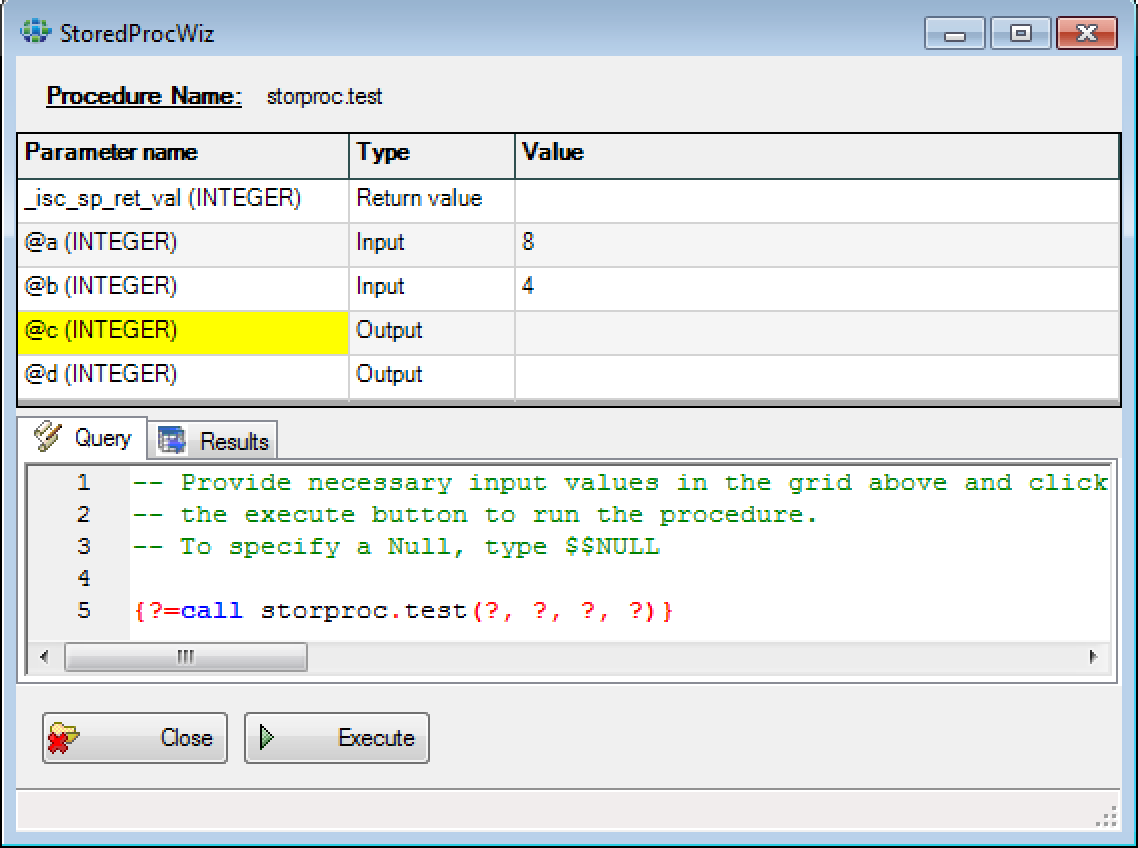 Calling stored procedures with output parameters · Issue