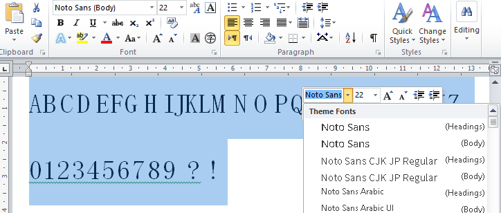 Last version of Noto Sans not working with Microsoft Word