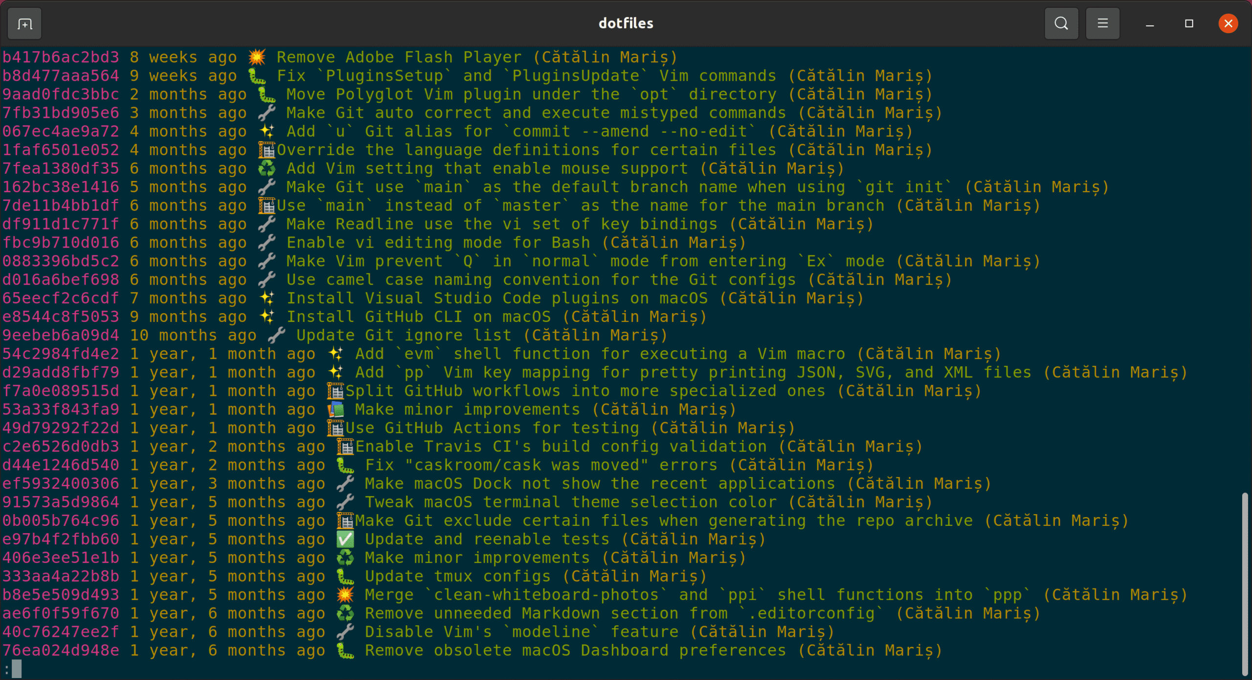 Output for Git log on Ubuntu