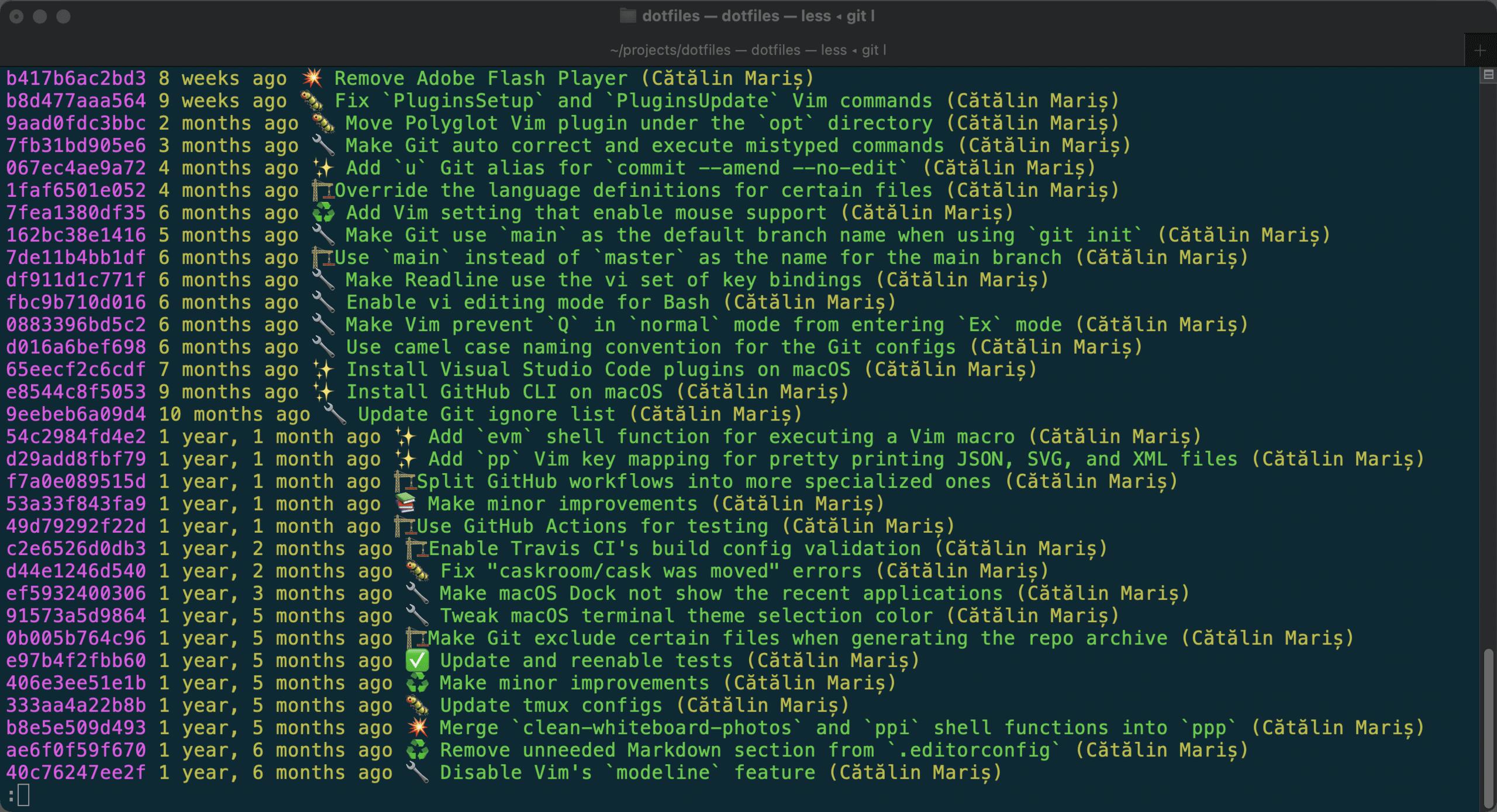 Output for Git log on macOS