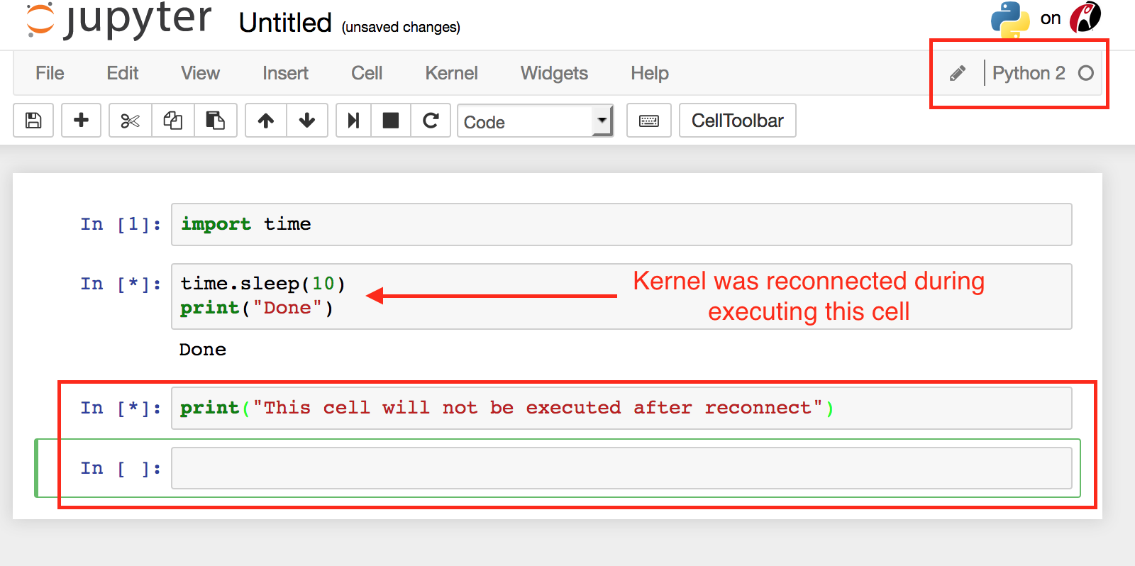 Kernel stops responding if the kernel is reconnected during code