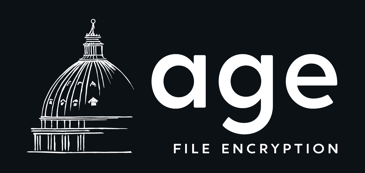 The age logo, an wireframe of St. Peters dome in Rome, with the text: age, file encryption