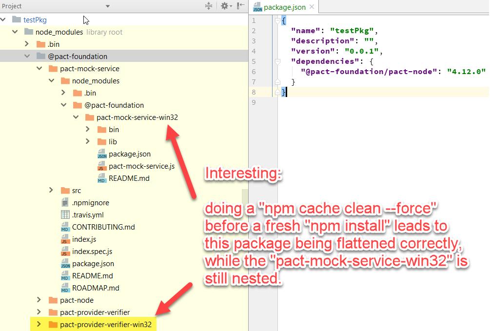 npm install doesn't flatten (dedupe) all (transitive