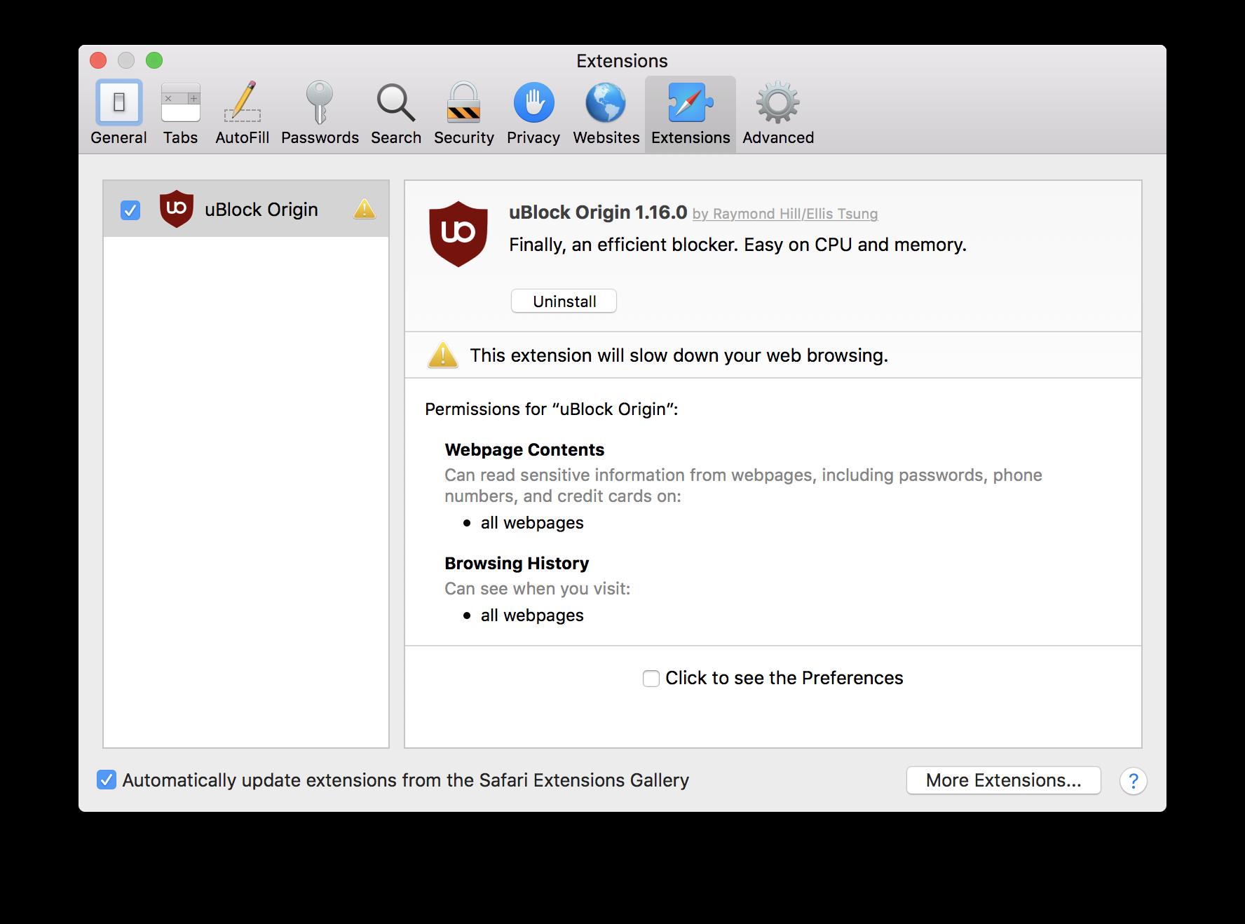 Safari 12 disabling uBlock Origin · Issue #139 · el1t/uBlock-Safari
