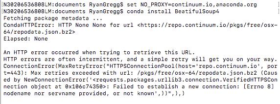 conda install fails with proxyerror behind proxy  Need a way