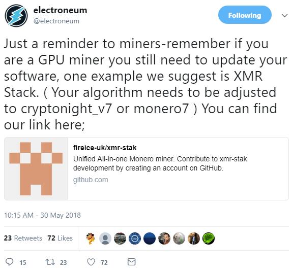 Electroneum (ETN) Network Upgrade · Issue #1603 · fireice-uk/xmr