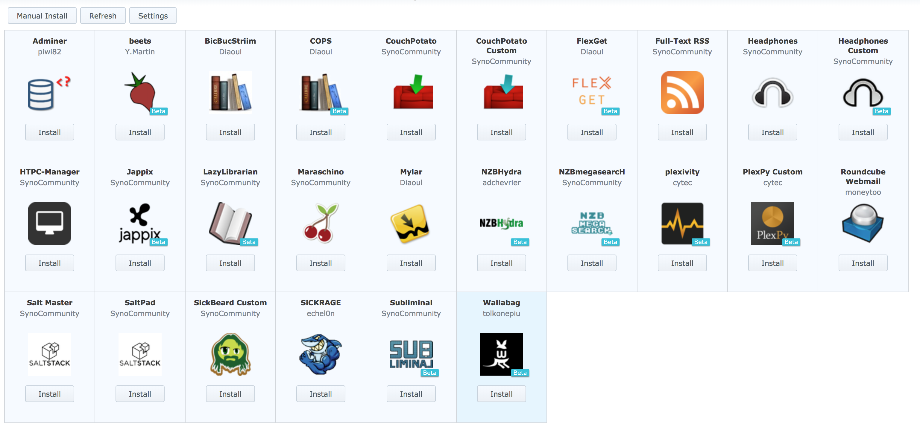 Developers - Synology DS3617, Missing packages -