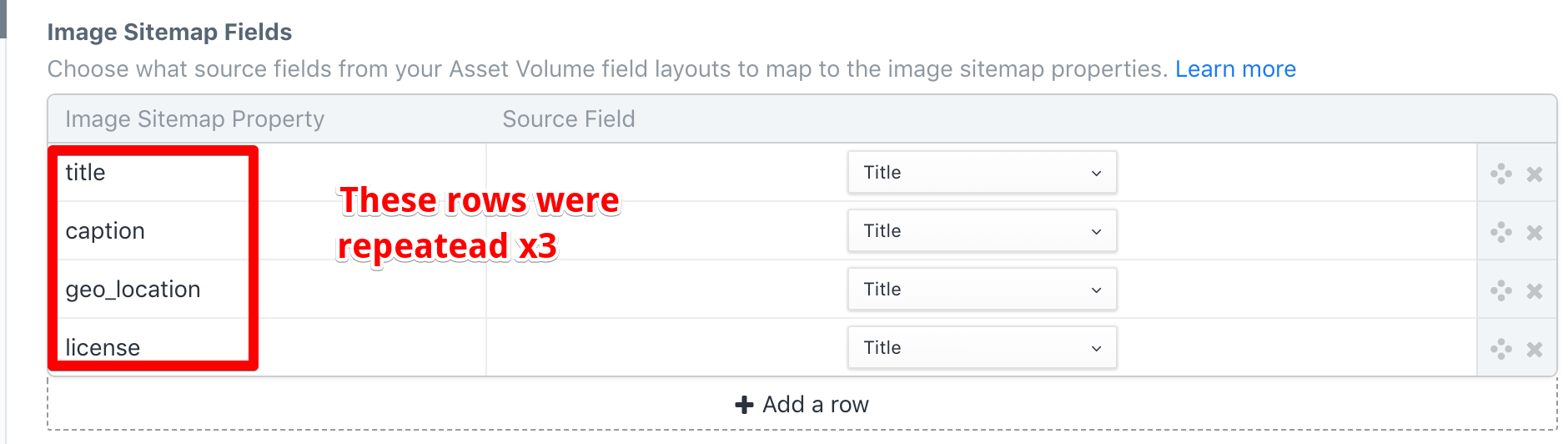 section sitemap renders too many image title per asset issue