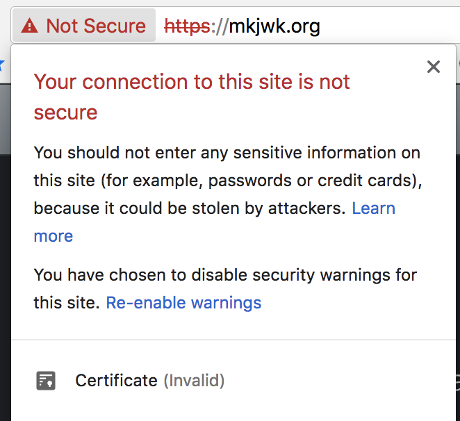 Your SSL certificate is invalid according to Chrome · Issue
