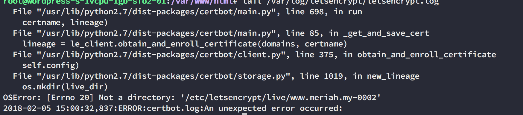 Error first setup letsencrypt using Digital Ocean · Issue