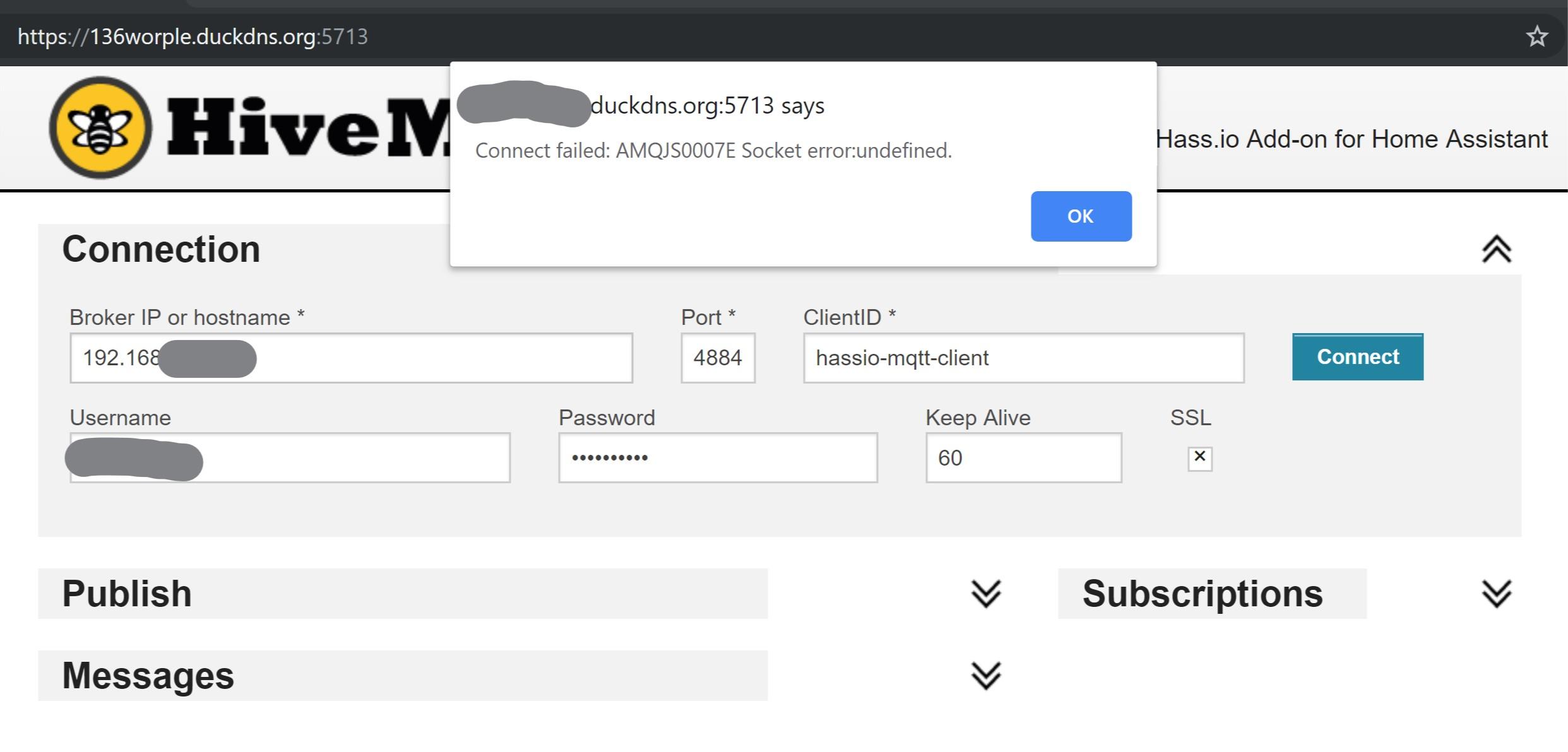 Connect failed: AMQJS0007E Socket error:undefined