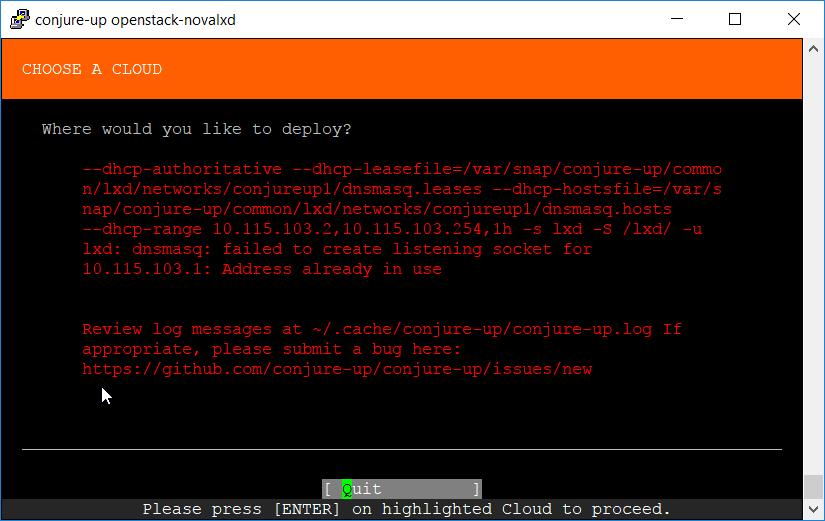 Failed to create LXD conjureup1 network bridge: error: Failed to run
