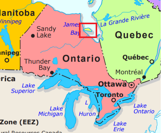 Map of Canadian provinces incorrectly includes Akimiski ...
